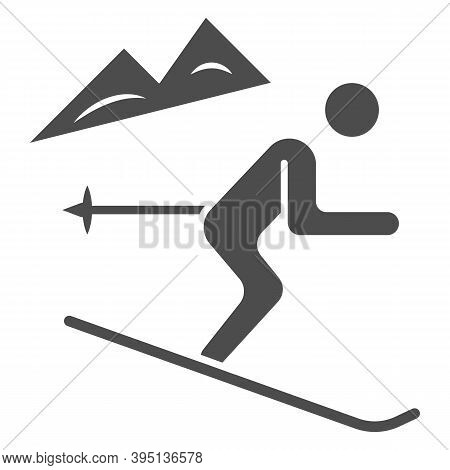 Downhill Skiing Solid Icon, Winter Sport Concept, Snow Skiing Sign On White Background, Ski Downhill