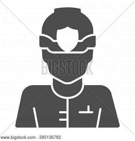 Police Officer In Helmet Solid Icon, Law Enforcement Concept, English Police Sign On White Backgroun