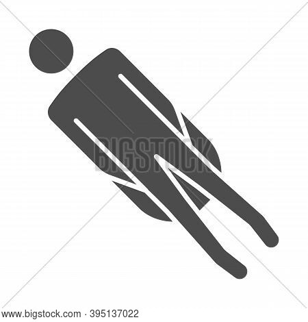 Sledding Solid Icon, Winter Sport Concept, Sleighing Sign On White Background, Person Riding On Slei