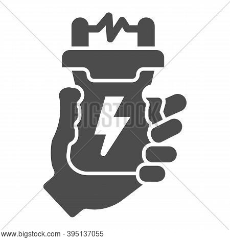 Stun Gun In Hand Solid Icon, Self Defense Concept, Electric Shock In Arm Sign On White Background, W