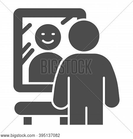 Smiling Man In Front Of Mirror Solid Icon, Self Confidence Concept, Happy Man Sign On White Backgrou