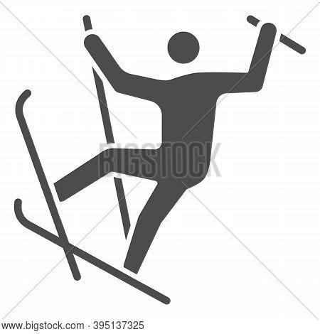 Freestyle Skiing Solid Icon, Winter Sport Concept, Ski Sport Sign On White Background, Freestyle Ski