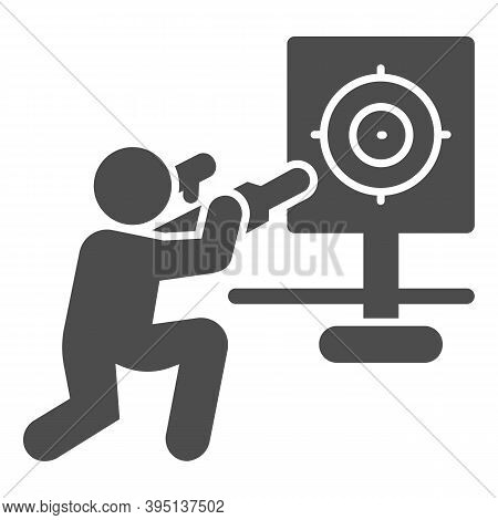 Shooter And Target Solid Icon, Self Defense Concept, Shooting Range Sign On White Background, Traini