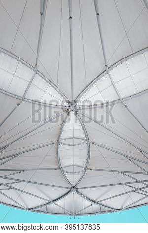 Fabric Tension Membrane Facade Detail Structure Of Roofing Sun Shade, Modern Architecture Facade Bui
