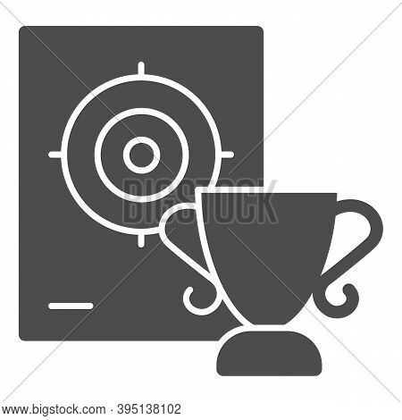 Cup And Target Solid Icon, Self Defense Concept, Shooting Range And Goblet Sign On White Background,