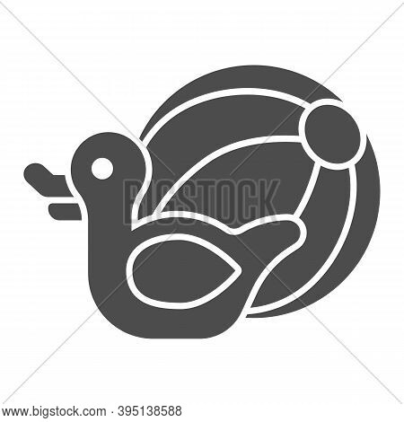 Rubber Duck And Beach Ball Solid Icon, Aquapark Concept, Beach Toys Sign On White Background, Pool T