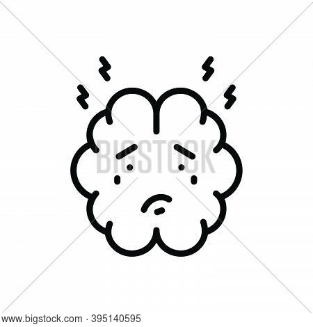 Black Line Icon For Anxiety Concern Worriment Angst Disquiet Nervousness Panic Trouble