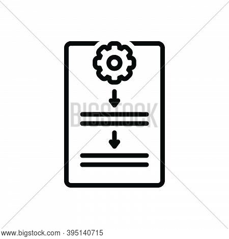 Black Line Icon For Procedure Process Protocol Document Guideline Work Organization Compliance Polic