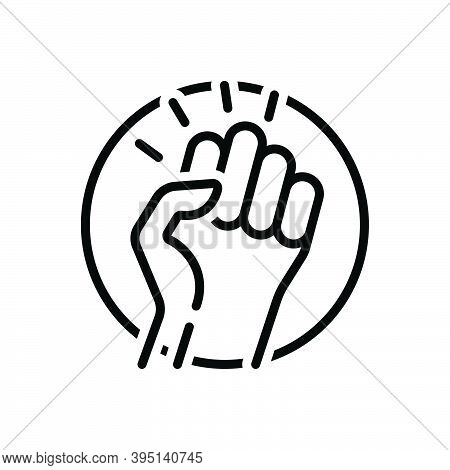 Black Line Icon For Revolution Putsch Protest Human Power Rebellion Punch Socialism Struggle Extremi