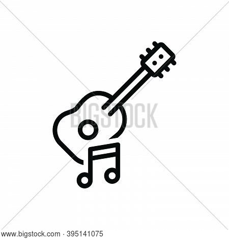 Black Line Icon For Musical Guitar Acoustic Music Instrument Performance Song Tone Musician Melody