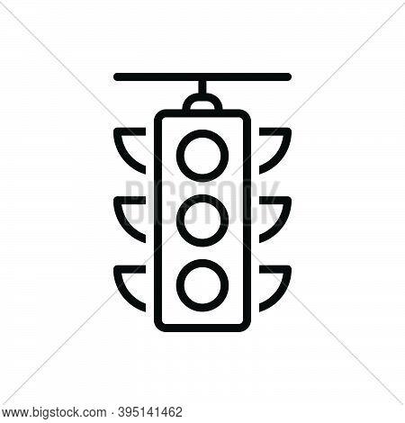 Black Line Icon For Traffic Traffic-light Stoplight Regulation Transportation Semaphore Signal Contr