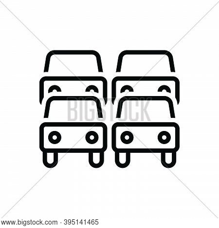 Black Line Icon For Traffic Transportation Car Heavy  Jam Road Congestion Vehicle Road