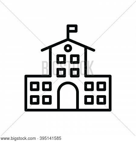 Black Line Icon For College Educational Institution Academic Graduation Building Primary School Univ