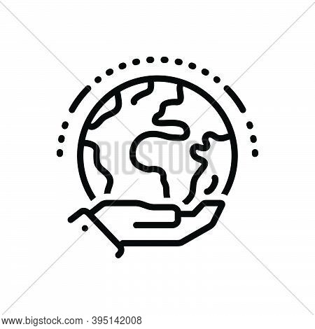 Black Line Icon For Exist Continue Happen Remain Obtain Save Global Have-existence Palm Earth