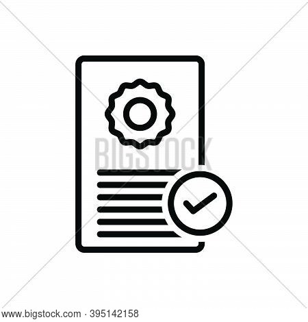 Black Line Icon For Possess Acquire Documents Certificate Qualification Ownership Recognition Verifi