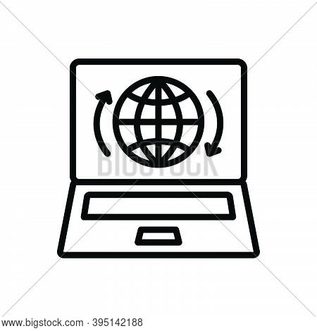 Black Line Icon For Presence Impendence Showing Presence Globe Internet Online Webpage Access Techno
