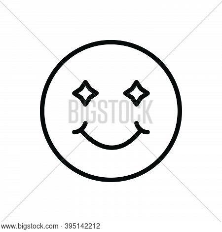 Black Line Icon For Smile Laugh Smirk Simper Sneer Grin Deride Jest Emoji Happy Joy