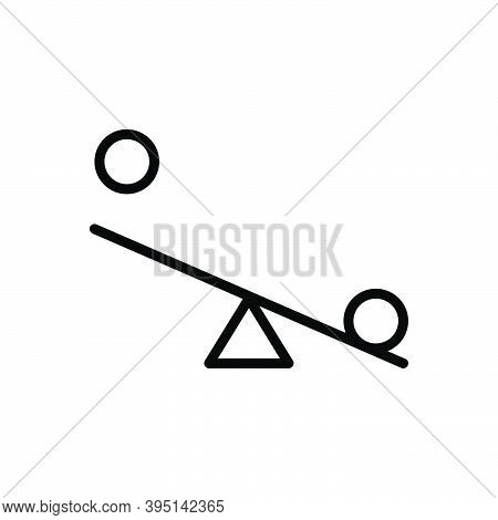 Black Line Icon For Try Effort Endeavor Equal Compare Balance Weight Comparison Budget Seesaw Swing