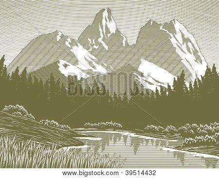 Woodcut Mountain Lake Scene