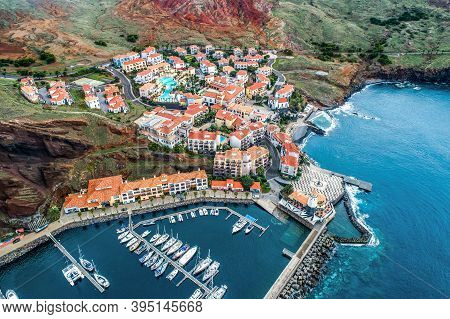 Aerial View Of Quinta Do Lorde Smal Village Hotel On Coast Of The Portuguese Island Of Madeira With