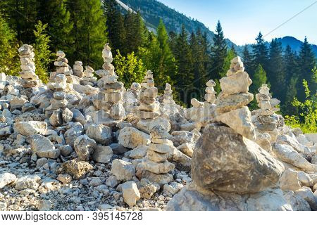 Stone pyramid in Triglav national park, Slovenia