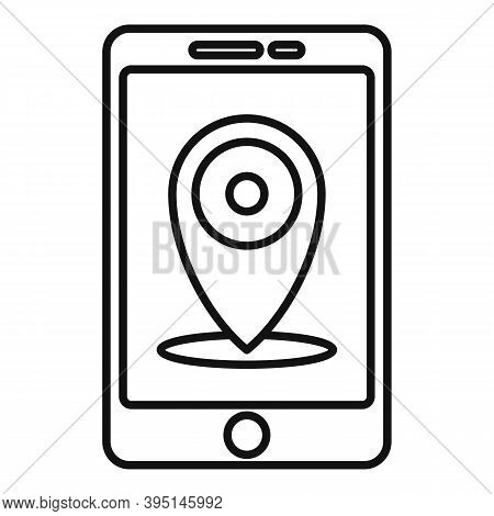 Guide Smartphone Map Icon. Outline Guide Smartphone Map Vector Icon For Web Design Isolated On White