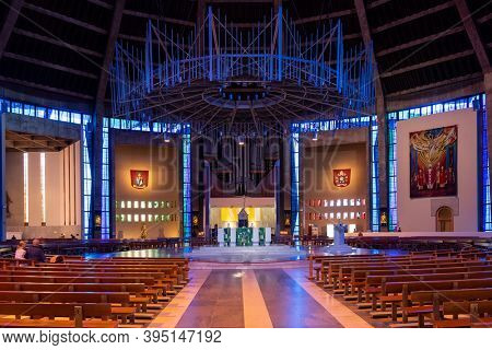 LIVERPOOL,UK - AUGUST 6,2019 : Interior of the Liverpool Metropolitan Cathedral, the largest catholic cathedral in England