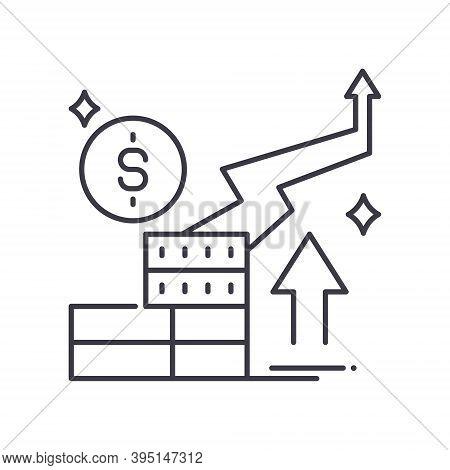 Rising Inflation Icon, Linear Isolated Illustration, Thin Line Vector, Web Design Sign, Outline Conc