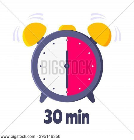 Thirty Minutes On Analog Clock Face Flat Style Design Vector Illustration Icon Sign Isolated On Whit