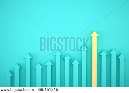 Abstract Of Yellow Arrow Graph On Blue Background, Corporate Future Growth Plan. Business Developmen