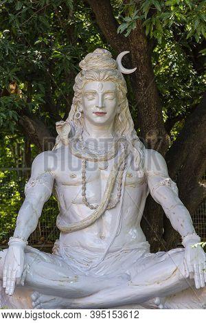Shiva Statue , Hindu Idol Near Ganges River, Rishikesh, India