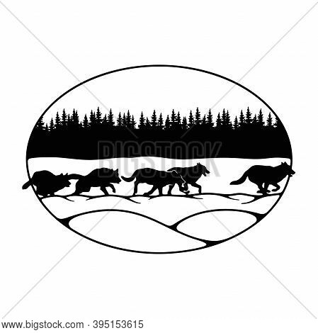 Wolves, Wolf Pack - Forest Landscape, Wildlife Stencils - Forest Silhouettes For Cricut, Wildlife Cl