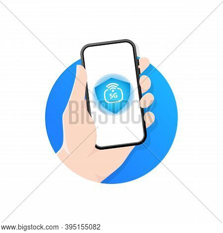 5g Technology. Hand Holding 5g Sign On Cell Phone Screen. A Person Uses A Smartphone With 5g High-sp