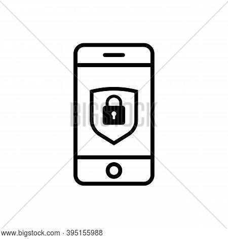Smartphone Security Linear Icon. Phone Protection Line Icon. Cyber Defence Sign. Security Shield Sym