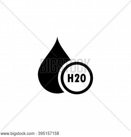 H2o. Water Drop Icon Logo. Chemical Formula H2o. Vector Illustration. Flat Design.