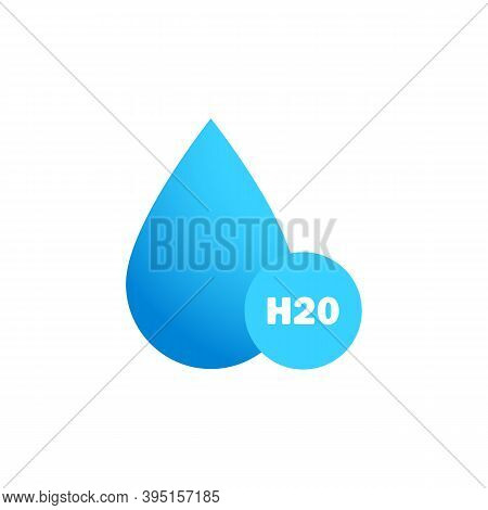 Water Drop Icon Logo In Flat Blue Design. H2o. Chemical Formula H2o. Vector Illustration.
