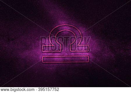 Libra Zodiac Sign, Night Sky,horoscope Astrology Background,libra Horoscope Symbol, Violet Horosco