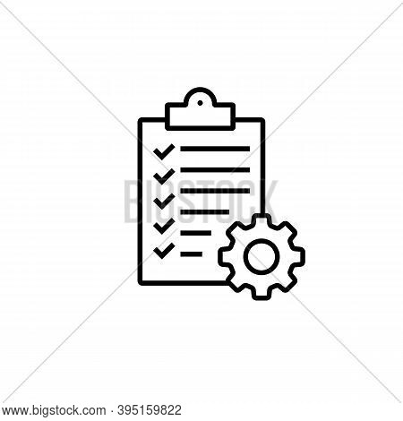 Clipboard With Gear Isolated Icon. Technical Support Check List Icon. Management Flat Icon Concept.