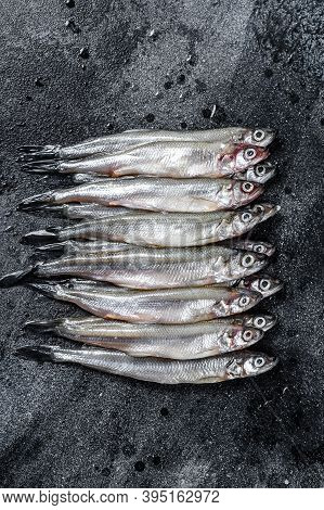 Raw Fresh Capelin Fish. Black Background. Top View.