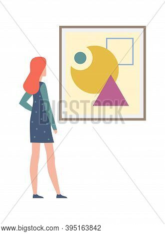 Young Woman Looking Abstract Painting. Female Character Looks Artworks And Pictures In Frame On Exhi