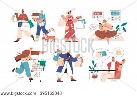 Online And Offline Shopping By Male And Female Buyers. Set Of People With Bags, Carts, Smartphone An