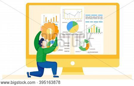 Man Analyzing Financial Statistics On The Background. Manager Is Studying Information About The Metr