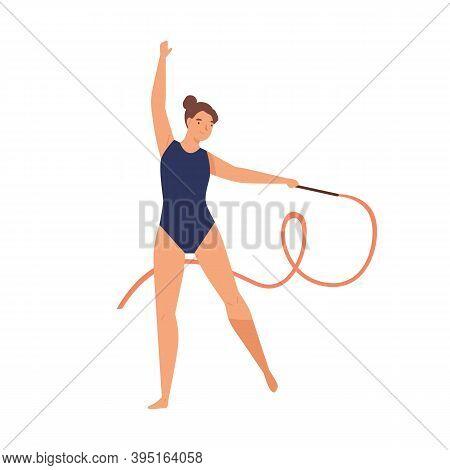 Young Graceful Woman Doing Professional Rhythmic Gymnastics. Gymnast Performer In Leotard Doing Eleg