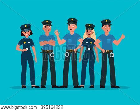 Policemen Group. Women And Men Cops In Uniform With Handcuffs, Guard Patrol, Control Safety And Orde