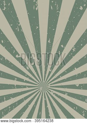 Sunlight Retro Faded Grunge Background. Dirty Grey And Green Color Burst Background. Vector Illustra