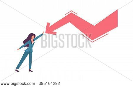 Woman Try Stopping Falling Arrow. Unpaid Loan Debt Economic Crisis And Recession, Sinking Business A