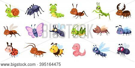 Cute Cartoon Insects. Funny Little Insect Characters Set Baby Snail, Smile Spider And Caterpillar, L