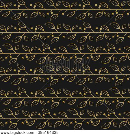 Abstract Seamless Pattern With Gold Horizontal Foliate Twigs With Berries On Black Background; For G