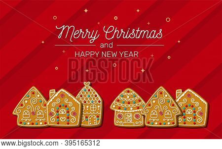 Christmas Card With Sweet Gingerbread Houses On A Red Background. Homemade Cokies. Vector Illustrati