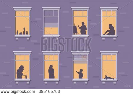 Neighbor Characters. Windows With People Stay At Home, Silhouettes Of Man And Woman Through The Wind